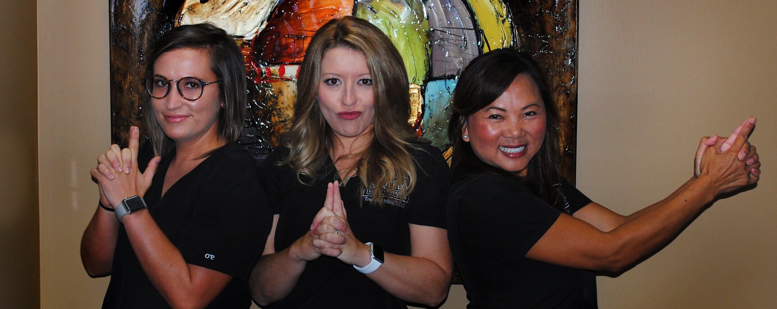 Bartels Family Dentistry staff in Charlie's Angels pose