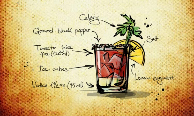 Drawing of a Bloody Mary cocktail with celery, vodka, ice cubes, and tomato juice that will discolor your teeth