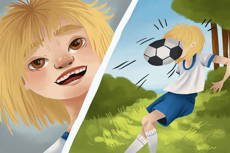 Cartoon of a blond child getting hit in the face with a soccer ball in one frame and smiling with a chipped tooth in the next frame