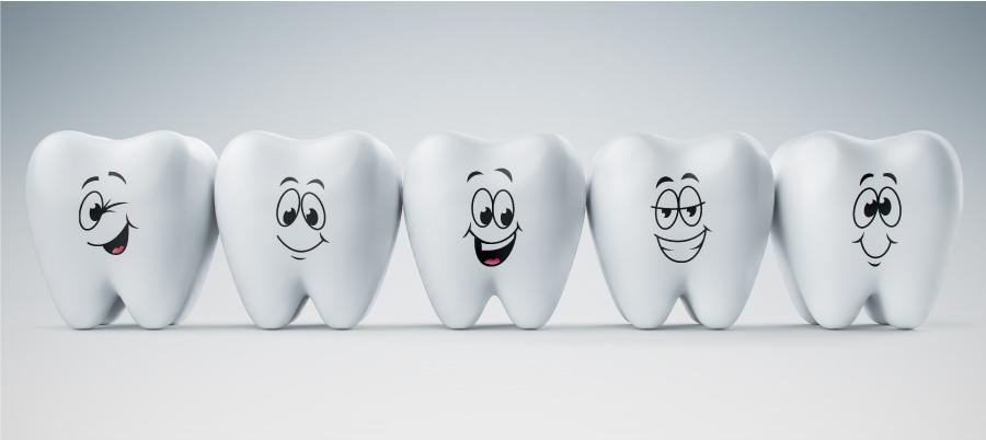 Five smiling cartoon teeth