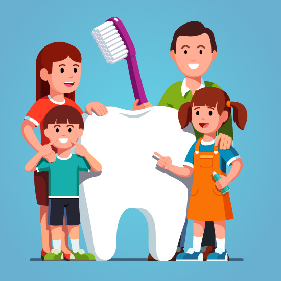 Cartoon family standing around a giant model of a tooth.